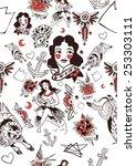vintage tattoo pattern  retro ... | Shutterstock .eps vector #253303111