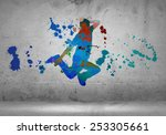image with color silhouette of... | Shutterstock . vector #253305661