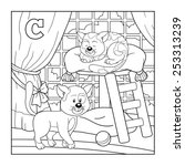 Coloring Book  Cat   Colorless...