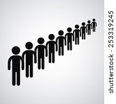 long queue symbol vector format  | Shutterstock .eps vector #253319245