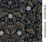 lineart floral seamless pattern.... | Shutterstock .eps vector #253323631