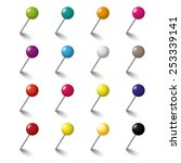 colored pins on the white... | Shutterstock .eps vector #253339141