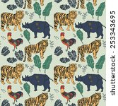seamless forest pattern with... | Shutterstock .eps vector #253343695
