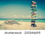funny directions signpost with... | Shutterstock . vector #253346695