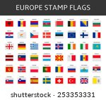 europe stamps flags vector | Shutterstock .eps vector #253353331