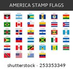 america stamps flags vector | Shutterstock .eps vector #253353349