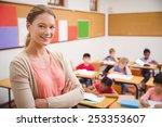 pretty teacher smiling at... | Shutterstock . vector #253353607