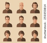 vector flat people face  avatar ... | Shutterstock .eps vector #253353814
