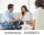 reconciled couple smiling at... | Shutterstock . vector #253358371