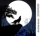 wolf in silhouette howling to... | Shutterstock .eps vector #253359205
