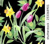 tulips  narcissuses flowerbed ... | Shutterstock . vector #253368901