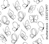 hand drawn simple butterfly... | Shutterstock .eps vector #253371997