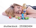Young Blonde Woman Lying With ...