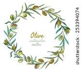 vector  watercolor  olive ... | Shutterstock .eps vector #253394074