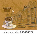 cafe background decorated with... | Shutterstock .eps vector #253418524