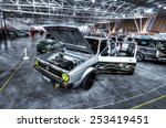 Small photo of TORINO, ITALY - FEBRUARY 15, 2015: Vintage Wv Golf in Rat-style or Rat-Rod. It's a news generation of tuning, usually crummy looking exterior with rust and colored parts on February 15, 2015