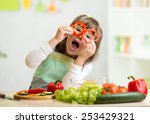 kid girl having fun with food... | Shutterstock . vector #253429321