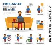 freelancer infographic elements.... | Shutterstock .eps vector #253435729
