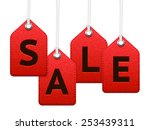 red sale textile labels ... | Shutterstock .eps vector #253439311