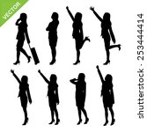 business woman silhouettes... | Shutterstock .eps vector #253444414