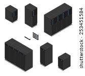 isometric black servers. modern ... | Shutterstock .eps vector #253451584