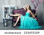 beautiful luxurious woman on a...   Shutterstock . vector #253455109