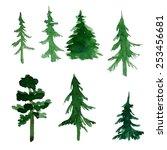 set of trees | Shutterstock .eps vector #253456681