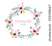watercolor flower s wreath.... | Shutterstock .eps vector #253458667