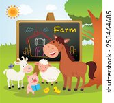 Farm Animals Lesson. Cheerful...