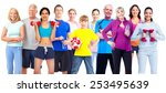 group of fitness people. weight ... | Shutterstock . vector #253495639