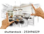 female hands framing custom... | Shutterstock . vector #253496029