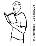 man reading book | Shutterstock .eps vector #253500205