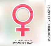 pink feminine symbol on shiny... | Shutterstock .eps vector #253532434