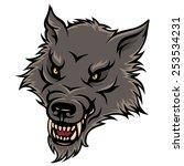stylized head of agressive wolf.... | Shutterstock .eps vector #253534231
