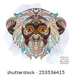 patterned head of the monkey on ... | Shutterstock .eps vector #253536415