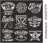 varsity college vector label... | Shutterstock .eps vector #253537279