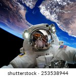 astronaut in outer space... | Shutterstock . vector #253538944