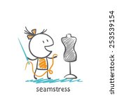 seamstress holding a needle and ...   Shutterstock .eps vector #253539154