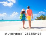 couple wearing bright clothes... | Shutterstock . vector #253550419