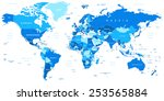 blue world map   borders ... | Shutterstock .eps vector #253565884