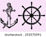 Ships Anchor And Wheel  Doodle...