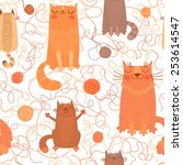 Seamless Pattern With Cute Cats ...