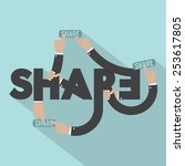 hands with share typography... | Shutterstock .eps vector #253617805