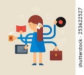 multitasking woman vector... | Shutterstock .eps vector #253622527