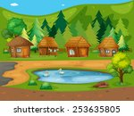 Illustration Of Many Huts By...