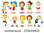 illustration of many children... | Shutterstock .eps vector #253635835