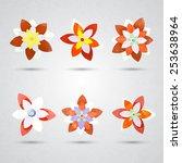 set of vectorized flowers | Shutterstock .eps vector #253638964