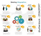 meeting infographics set with... | Shutterstock .eps vector #253639597