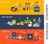 airport banner set with custom... | Shutterstock .eps vector #253639894