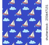 seamless sea pattern. yacht on... | Shutterstock .eps vector #253647151